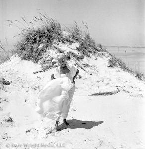 Dare's Story Photo of Dare Wright on a Beach on Ocracoke Island